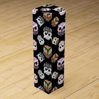 Fun Owl Pattern on Black Background Wine Gift Box