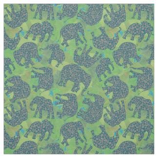 Fun Paisley Elephants, Jungle Green Leaves Pattern Fabric