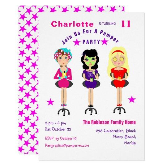 Fun Pamper Party Girls  Birthday Invites