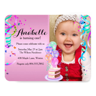 "Fun Party Celebration First Birthday Pink 4.25"" X 5.5"" Invitation Card"