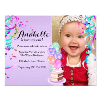 "Fun Party Celebration Purple First Birthday 4.25"" X 5.5"" Invitation Card"