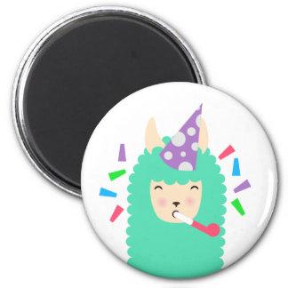 Fun Party Emoji Llama 2 Inch Round Magnet