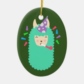Fun Party Emoji Llama Ceramic Ornament