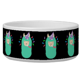Fun Party Emoji Llama Dog Water Bowl