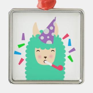 Fun Party Emoji Llama Silver-Colored Square Ornament