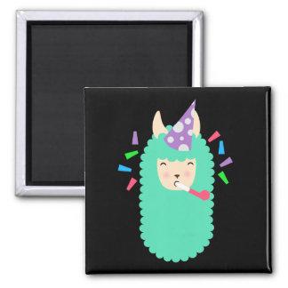 Fun Party Emoji Llama Square Magnet