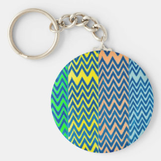 fun patchwork of chevron pattern colorful vintage keychain