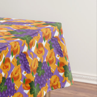 Fun Peaches and Grapes pattern kitchen tablecloth