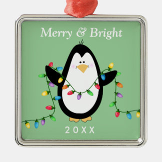 Fun Penguin Merry and Bright Square Metal Metal Ornament