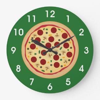 Fun Pepperoni and Veggie Pizza Large Clock