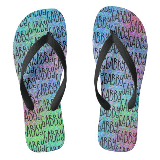 Fun Personalized Colorful Abstract Name Pattern Flip Flops