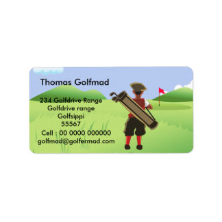 Fun Personalized Golfer on golf course Label