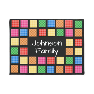 Fun Personalized Mixed Plaids Doormat