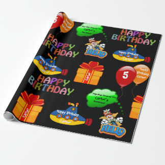 Fun Personalized Name & Age Birthday Wrapping Paper