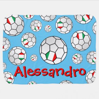 Fun Personalized Random Pattern Italy Soccer Ball Stroller Blanket