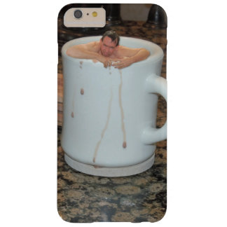 Fun phone case with tiny man in coffee