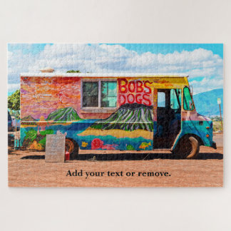 Fun photograph of an old colorful hot dog van. jigsaw puzzle