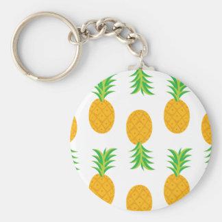 Fun Pineapple Pattern Basic Round Button Keychain