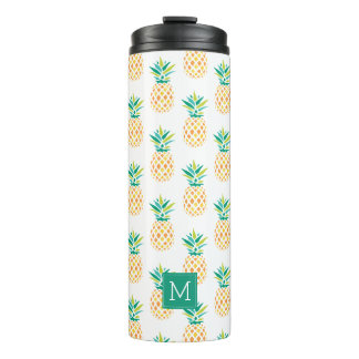 Fun Pineapples Monogram Pattern Thermal Tumbler