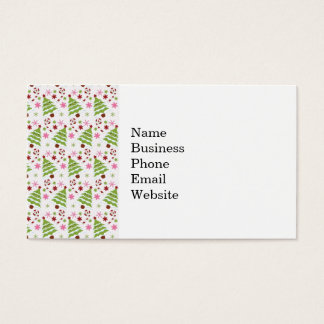 Fun Pink and Green Christmas Tree and Candy Canes Business Card