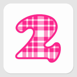 Fun Pink and White Plaid Number 3 THREE A19 Square Sticker