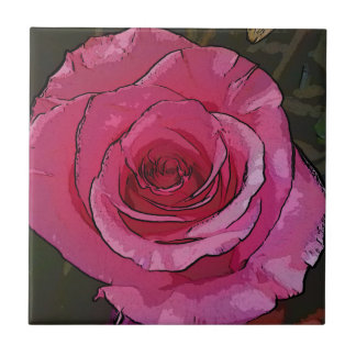 Fun Pink Artistic Chic Rose Petals Tile
