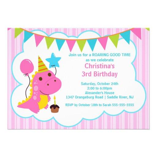Fun Pink Dinosaurs Birthday Party Invitation