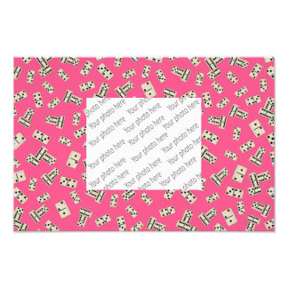 Fun pink domino pattern photo print