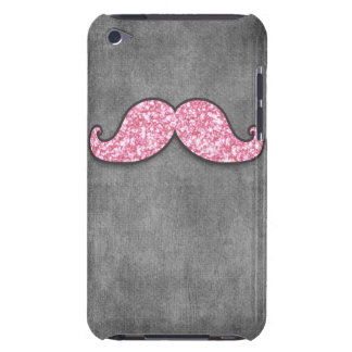 FUN PINK GLITTER MUSTACHE GREY CHALKBOARD BARELY THERE iPod COVERS