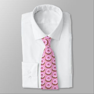 Fun pink iced donut tiled bakery tie