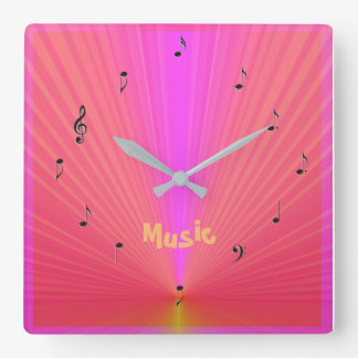 Fun Pink Orange with Music Notes> Music Clocks