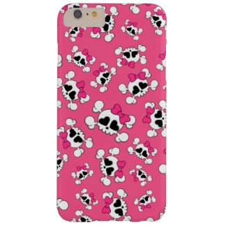 Fun pink skulls and bows barely there iPhone 6 plus case