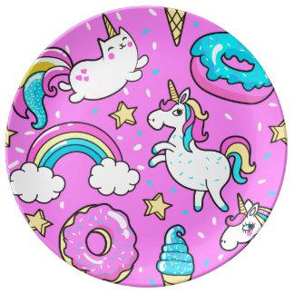 Fun Pink sparkling magical rainbow unicorn kitty Porcelain Plates