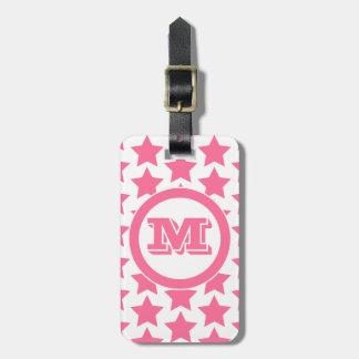 Fun Pink Stars Pattern Monogram Luggage Tag