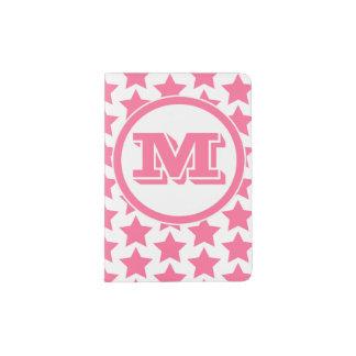 Fun Pink Stars Pattern Monogram Passport Holder