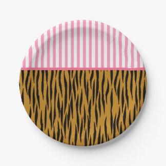 Fun Pink Stripes & Tigerprint Paper Plate