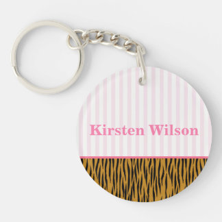 Fun Pink Stripes & Tigerprint Personalized Keychain