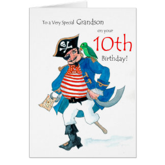 Fun Pirate 10th Birthday Card for Grandson