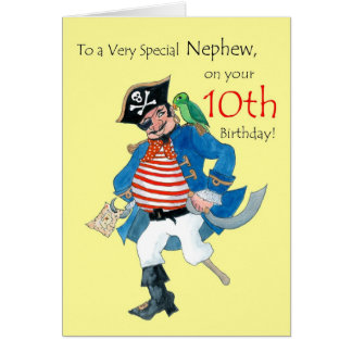 Fun Pirate 10th Birthday Card for Nephew on Yellow