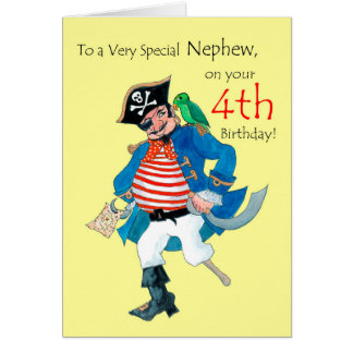 Fun Pirate 4th Birthday Card for Nephew on Yellow