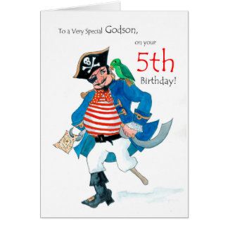 Fun Pirate 5th Birthday Card for Godson