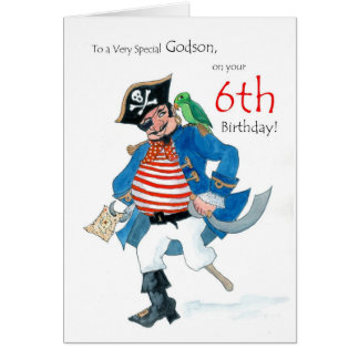 Fun Pirate 6th Birthday Card for Godson
