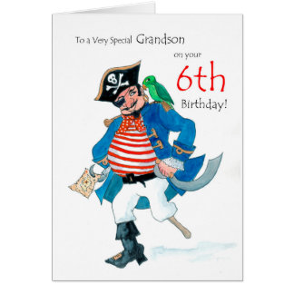 Fun Pirate 6th Birthday Card for Grandson