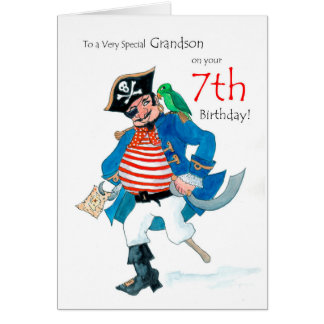 Fun Pirate 7th Birthday Card for Grandson