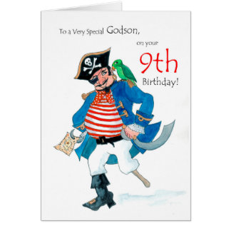 Fun Pirate 9th Birthday Card for Godson