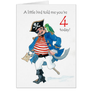Fun Pirate and Parrot 4th Birthday Card