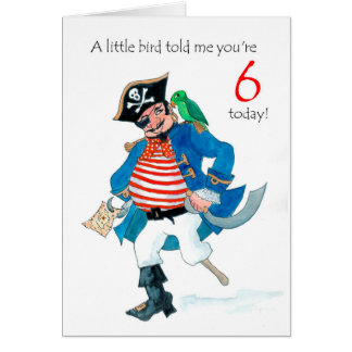Fun Pirate and Parrot 6th Birthday Card