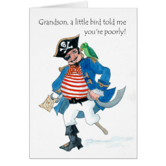 Fun Pirate and Parrot Get Well for Grandson Card