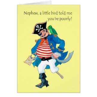 Fun Pirate and Parrot Get Well for Nephew Card