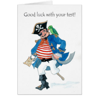 Fun Pirate and Parrot Good Luck with Test Card